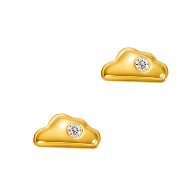 18K Cloud Solid Yellow Gold Tiny Cute Diamond Earring Studs - FANCI ME
