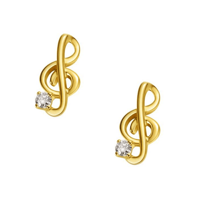 18K Keynote Solid Yellow Gold Tiny Cute Diamond Earring Studs - FANCI ME