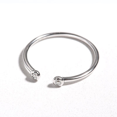 Line&Dots White Gold Stackable Rings - FANCI ME