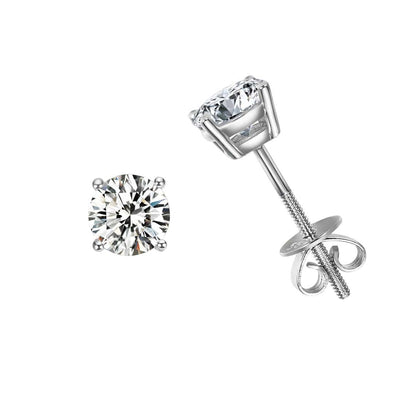 1 cttw 14K Solid White Gold Solitaire Round Moissanite Stud Earrings - FANCI ME