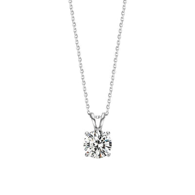 "1 Carat Classic Round 4 Prong Solitaire Moissanite Simulated Diamond Pendant Necklace, 16+2"" Chain - FANCI ME"
