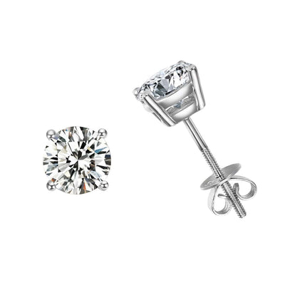 2 cttw 14K Solid White Gold Solitaire Round Moissanite Stud Earrings - FANCI ME