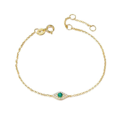 Evil Eye Emerald Protection Diamond Bracelet In 18K Yellow Gold - FANCI ME