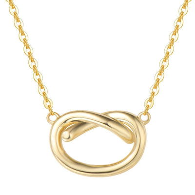 14K Real Solid Gold Classic Infinity Love Knot Necklace - FANCI ME