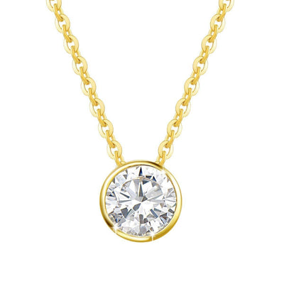 14K Yellow Gold ONE Carat Moissanite Bezel Set Solitaire Pendant Necklace, 16+2 INCH - FANCI ME