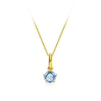 Delicate March Birthstone Aquamarine Gold Necklace - FANCI ME