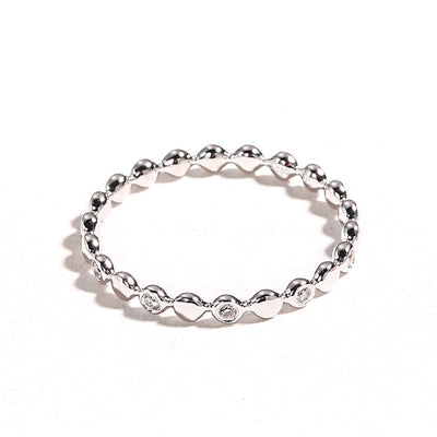 Line&Dots White Gold Beaded Ring - FANCI ME