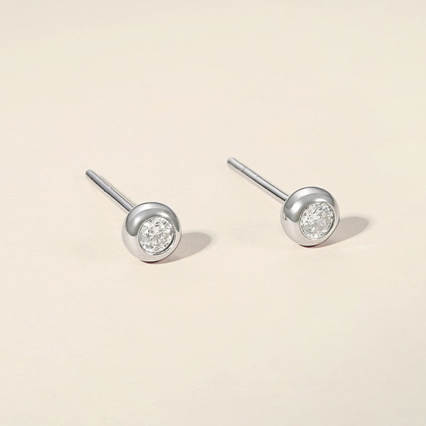 Mellow S Round 18K Solid Gold Round Diamond Studs - FANCI ME