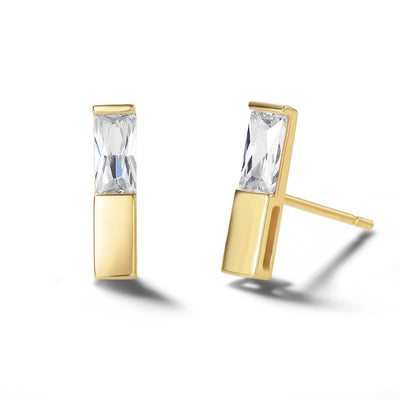 14K Solid Gold Bar Stud Earrings - FANCI ME