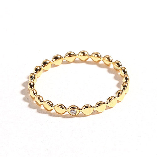 Line&Dots Yellow Gold Beaded Ring