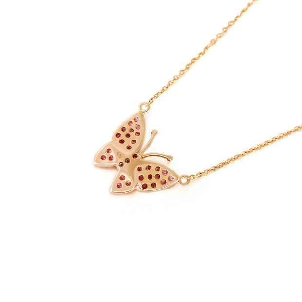 """Fairy Titania"" 18K Rose Gold Pink Sapphire Diamond Pave Butterfly Necklace - FANCI ME"
