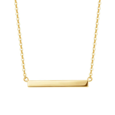 "14K Real Solid Gold Horizontal Bar Necklace High Polished Pendant Jewelry for Women 16""+2"" - FANCI ME"