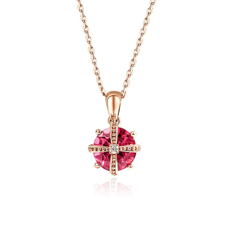 """Laura"" 18K Rose Gold Pink Sapphire Diamond Butterfly Necklace"