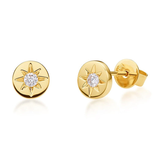 18K Yellow Gold Diamond Hope Studs - FANCI ME