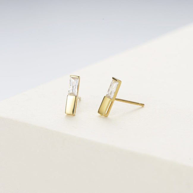 14K Solid Gold Bar Stud Earrings
