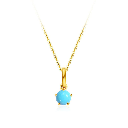 Delicate December Birthstone Turquoise Gold Necklace
