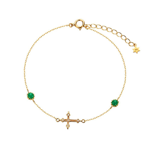 """Rosemary"" Yellow Gold Cross Bracelet with Diamonds and Emeralds"