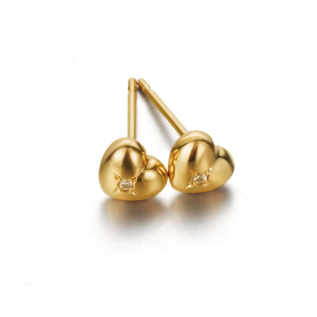 """Sweet Heart"" 18K Gold Stud Earrings - FANCI ME"