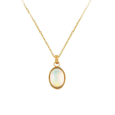 """Maria"" Natural Opal Necklace In Solid 10K Yellow Gold - FANCI ME"