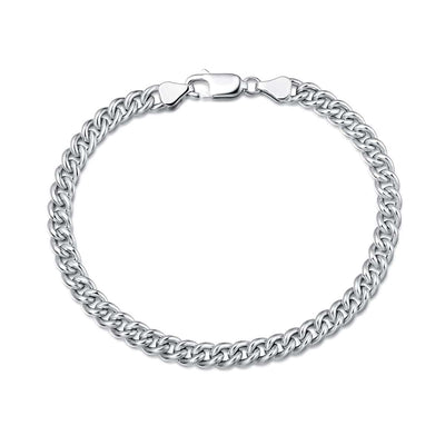 Mens Sterling Silver Cuban Link Chain Bracelet, 5mm