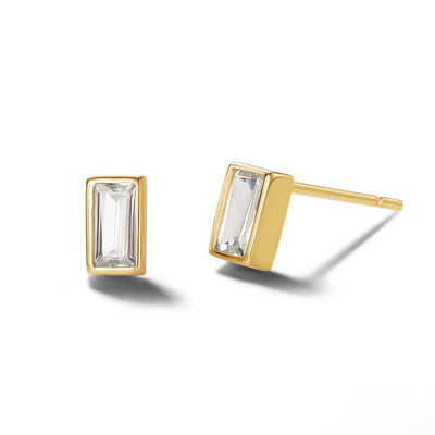 14K Solid Gold Prism Stud Earrings - FANCI ME