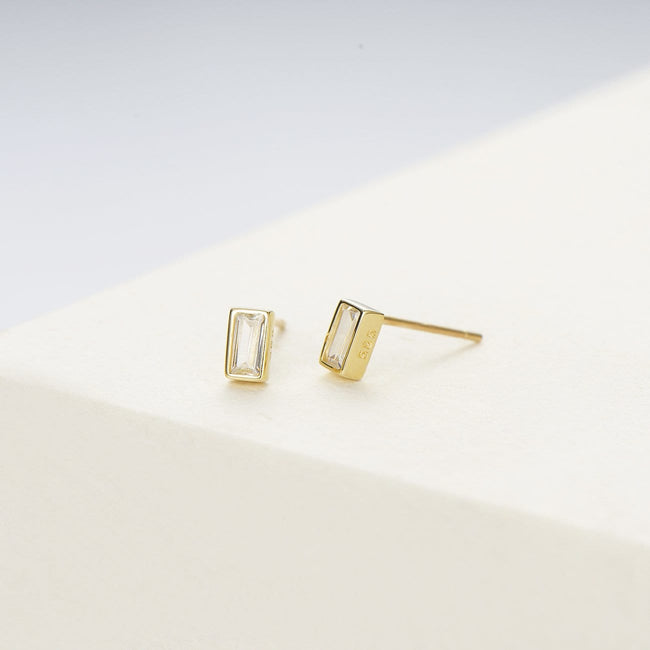 14K Solid Gold Prism Stud Earrings