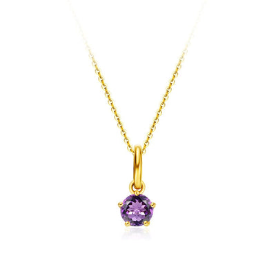 Delicate February Birthstone Amethyst Gold Necklace - FANCI ME
