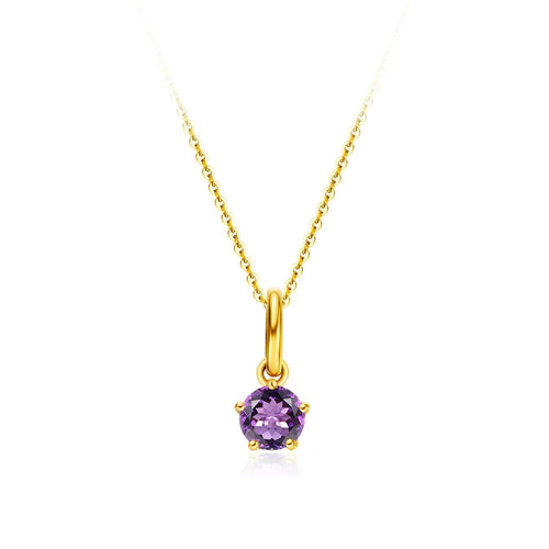 Delicate February Birthstone Amethyst Gold Necklace