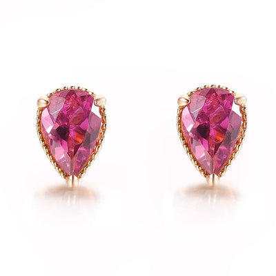 18K Rose Gold Drop Pink Tourmaline Gold Stud Earrings - FANCI ME