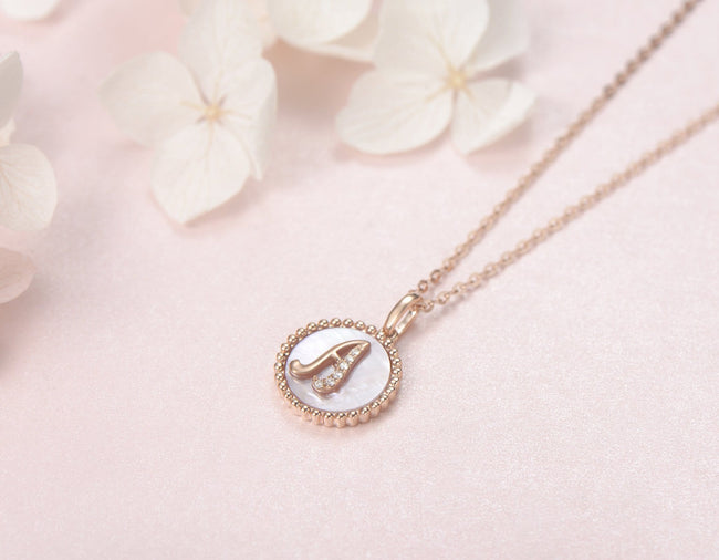 """A"" Solid 14K Rose Gold Initial Dainty Pendant Necklace"
