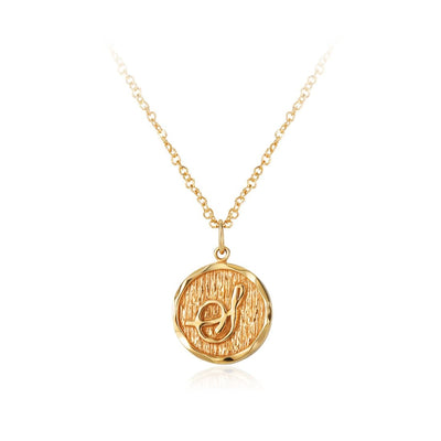 """Thea"" Antique Finish Monogram Gold Pendant Necklace - FANCI ME"