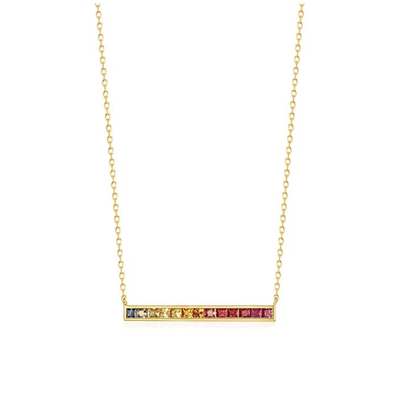 """Rainbow Bar"" 14K Natural Colored Sapphires Necklace - FANCI ME"