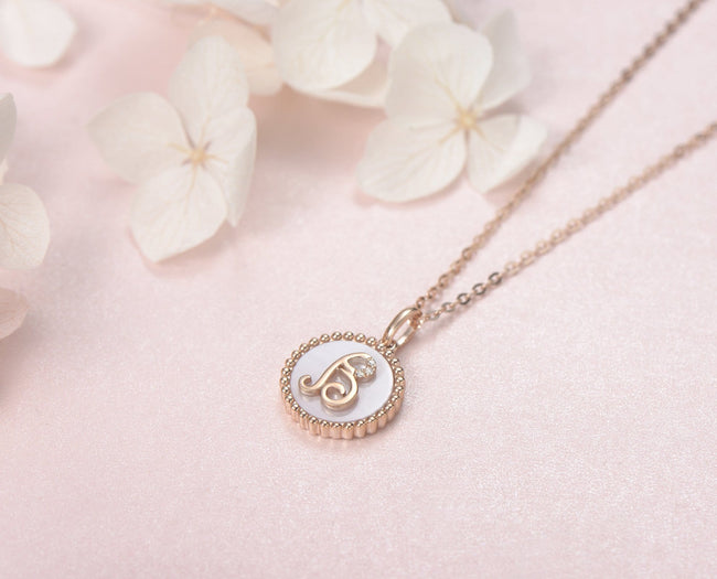 """B"" Solid 14K Rose Gold Initial Dainty Pendant Necklace"