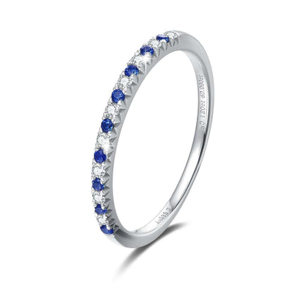 Line & Dots 14K Solid White Gold Semi Eternity Diamond Wedding Band with Blue Sapphire - FANCI ME