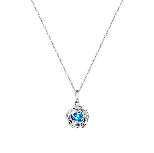 Blue Romance Rose Pendant Necklace with Blue Topaz