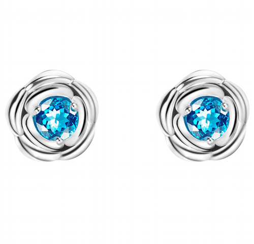 Blue Romance Rose Stud Earrings with Blue Topaz