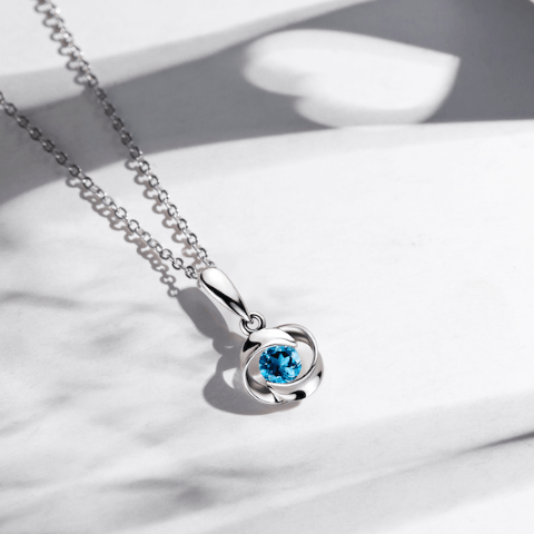 Blue Valentine Rose Pendant Necklace with Blue Topaz