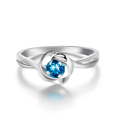 Blue Valentine Rose Ring with Blue Topaz
