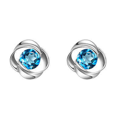 Blue Valentine Rose Stud Earrings with Blue Topaz - FANCI ME