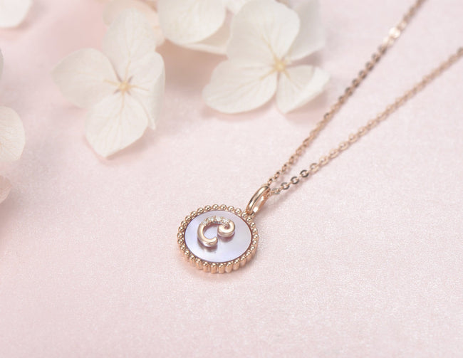 """C"" Solid 14K Rose Gold Initial Dainty Pendant Necklace"