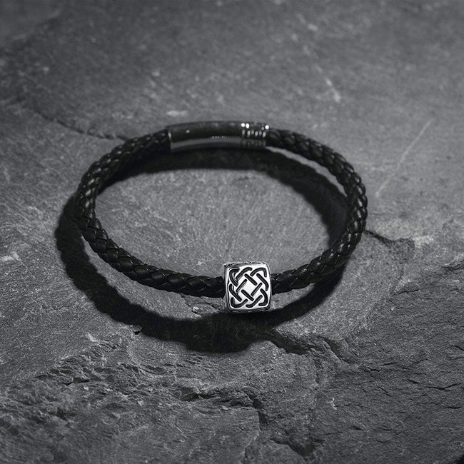 CELTIC Knot 925 Sterling Silver Mens Leather Bracelet - Black - FANCI ME