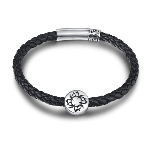 COURAGE 925 Sterling Silver Mens Leather Bracelet - Black - FANCI ME