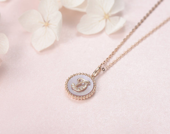 """D"" Solid 14K Rose Gold Initial Dainty Pendant Necklace"