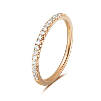 Line & Dots 18K Solid Rose Gold Eternity Pave Diamond Ring - FANCI ME