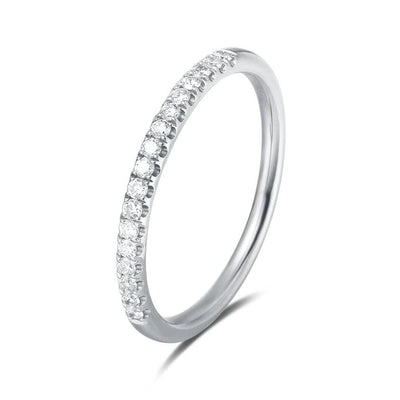 Line & Dots 18K Solid White Gold Eternity Pave Diamond Ring - FANCI ME