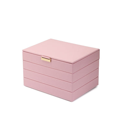 FANCIME Jewelry Box For Women Leather Jewelry Organize (L-Pink)