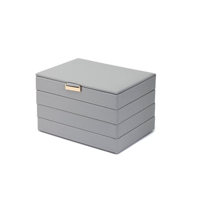 FANCIME Jewelry Box For Women Leather Jewelry Organize (L-Gray)