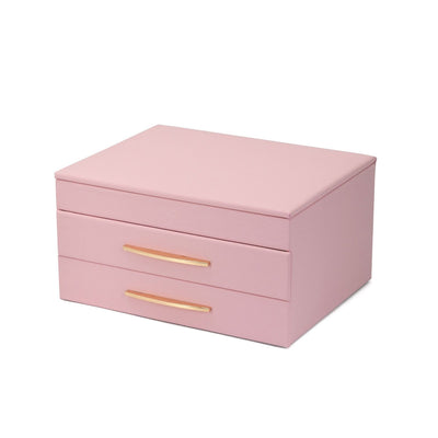 FANCIME Jewelry Box For Women Leather Jewelry Organize (M-Pink)