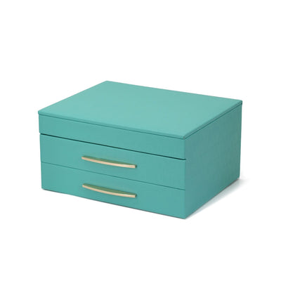 FANCIME Jewelry Box For Women Leather Jewelry Organize (M-Blue)