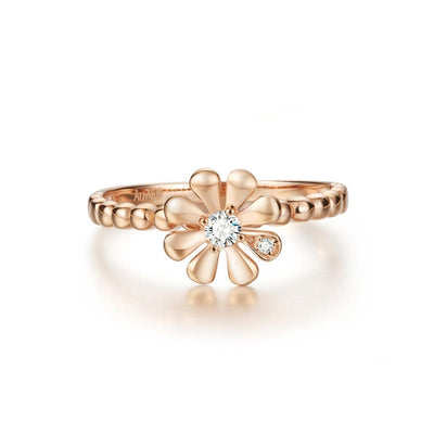 """Charlotte"" 14k Daisy Flower Rose Gold Ring - FANCI ME"